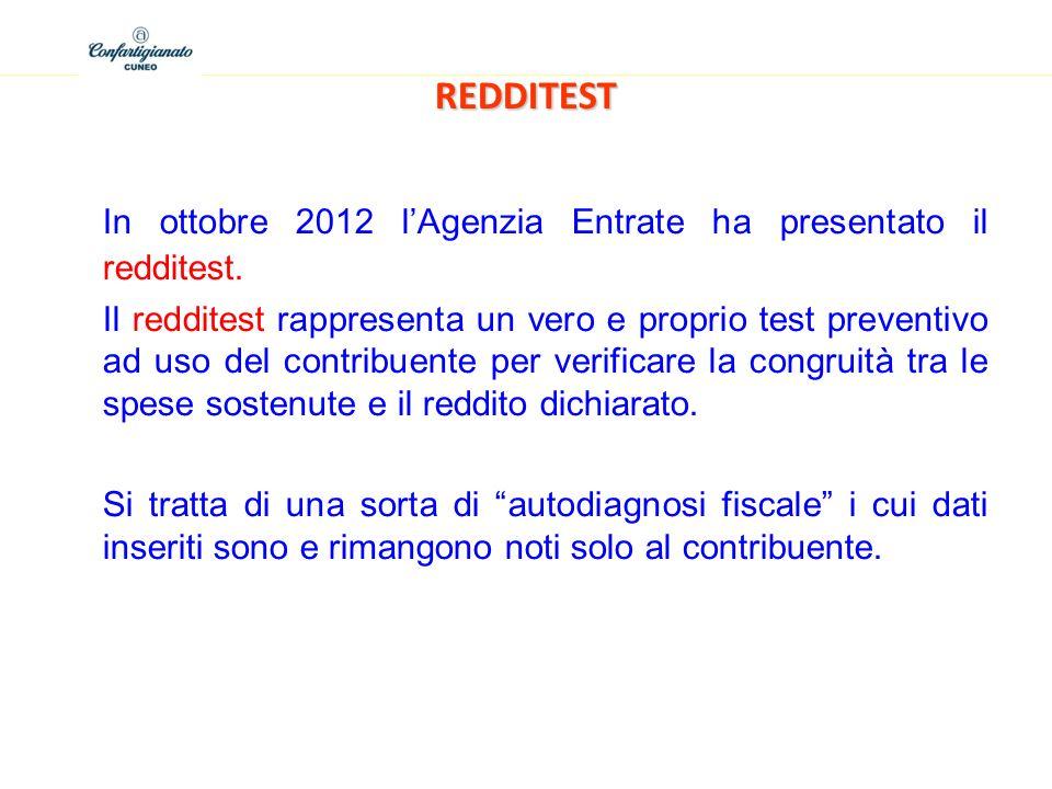 In ottobre 2012 l'Agenzia Entrate ha presentato il redditest.