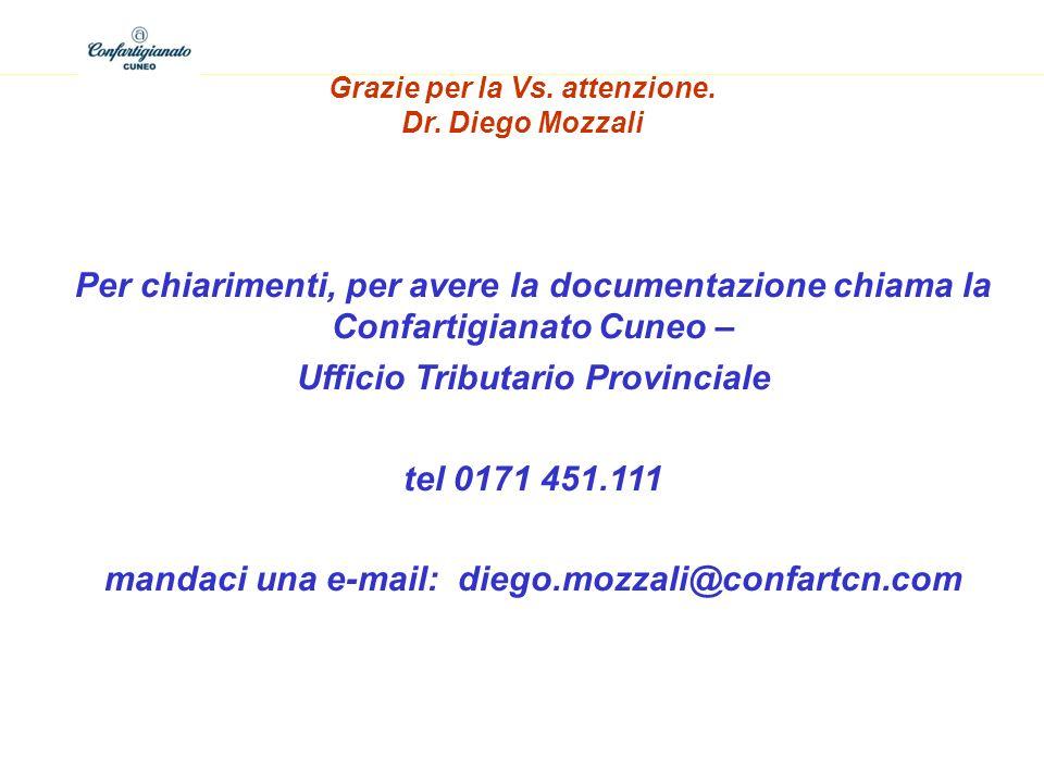 Ufficio Tributario Provinciale tel 0171 451.111