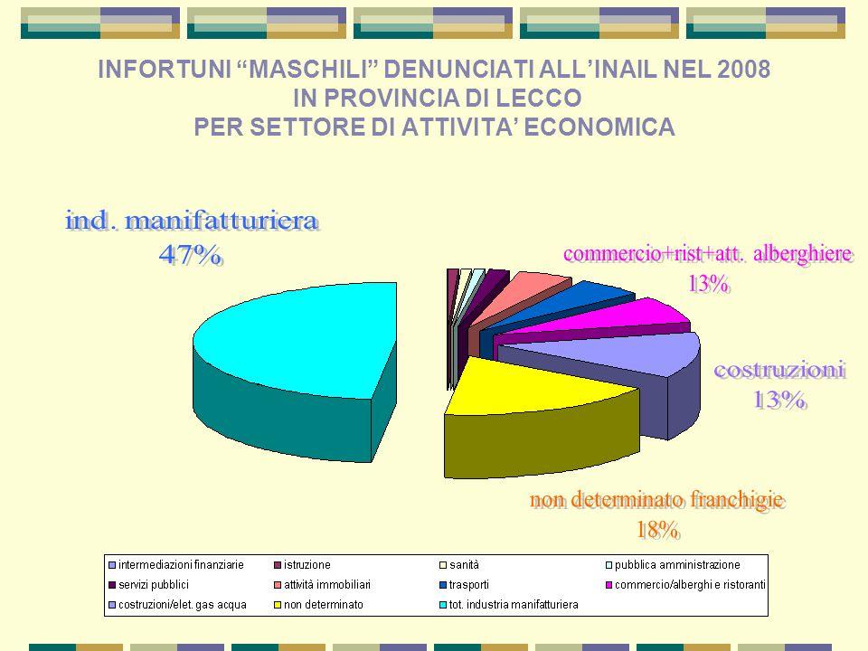 INFORTUNI MASCHILI DENUNCIATI ALL'INAIL NEL 2008 IN PROVINCIA DI LECCO PER SETTORE DI ATTIVITA' ECONOMICA