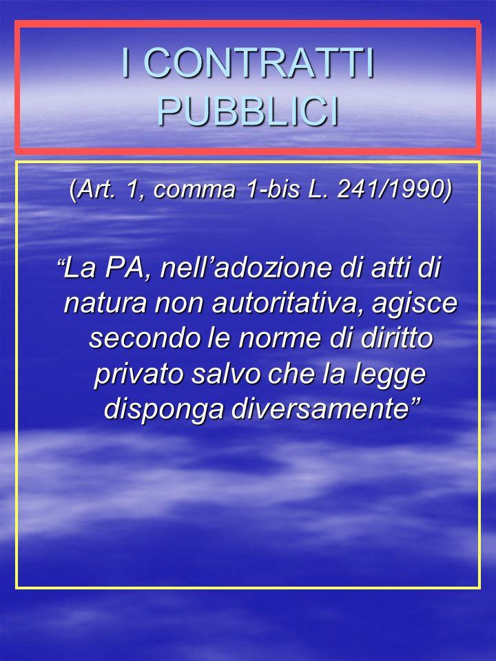 I CONTRATTI PUBBLICI (Art. 1, comma 1-bis L. 241/1990)