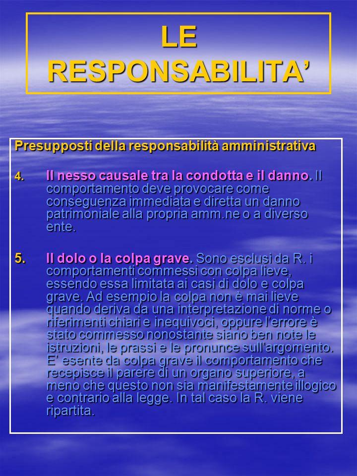 LE RESPONSABILITA' Presupposti della responsabilità amministrativa