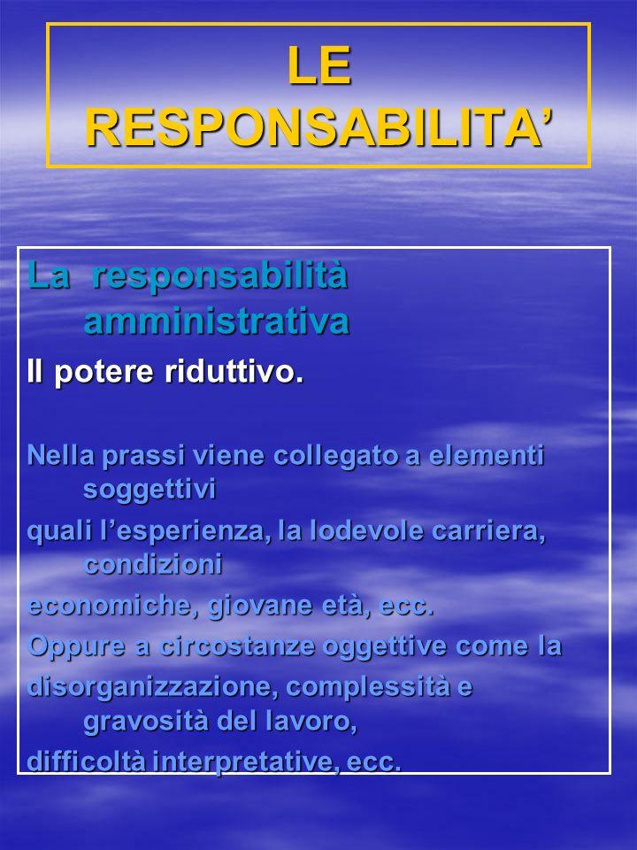 LE RESPONSABILITA' La responsabilità amministrativa