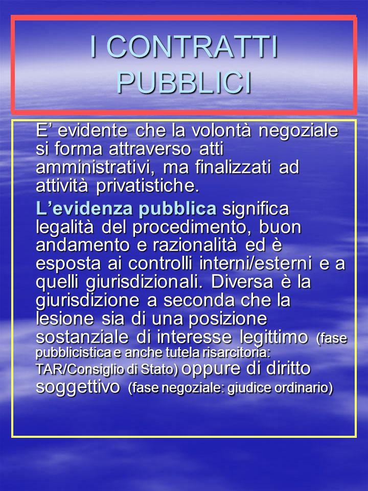 I CONTRATTI PUBBLICI E' evidente che la volontà negoziale si forma attraverso atti amministrativi, ma finalizzati ad attività privatistiche.