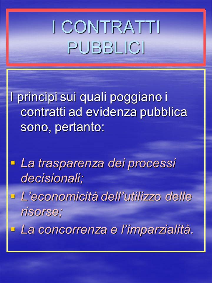 I CONTRATTI PUBBLICI I principi sui quali poggiano i contratti ad evidenza pubblica sono, pertanto: