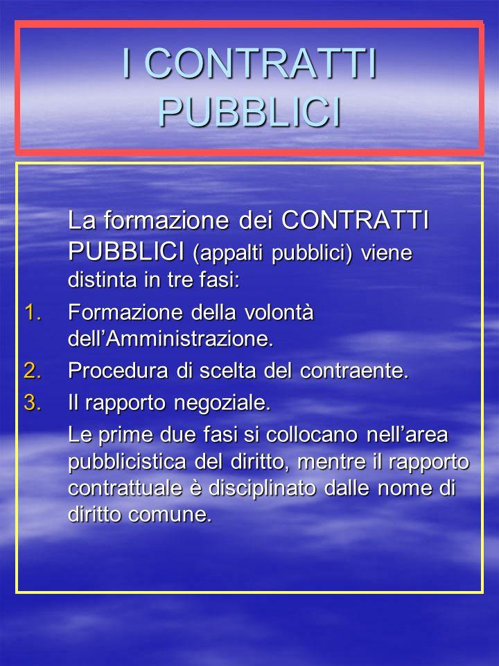 I CONTRATTI PUBBLICI La formazione dei CONTRATTI PUBBLICI (appalti pubblici) viene distinta in tre fasi: