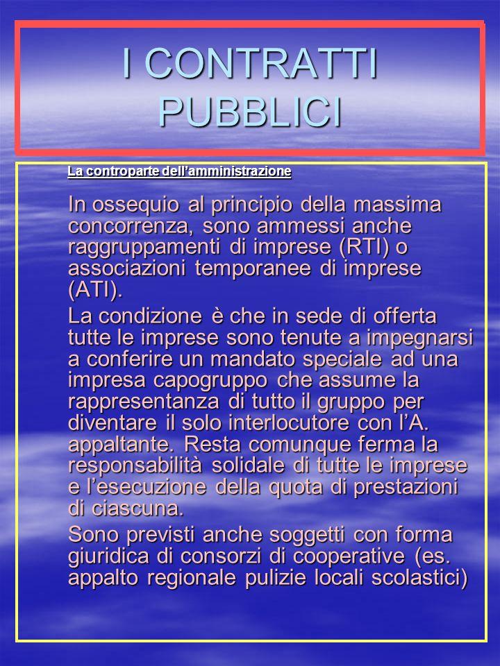 I CONTRATTI PUBBLICI La controparte dell'amministrazione.