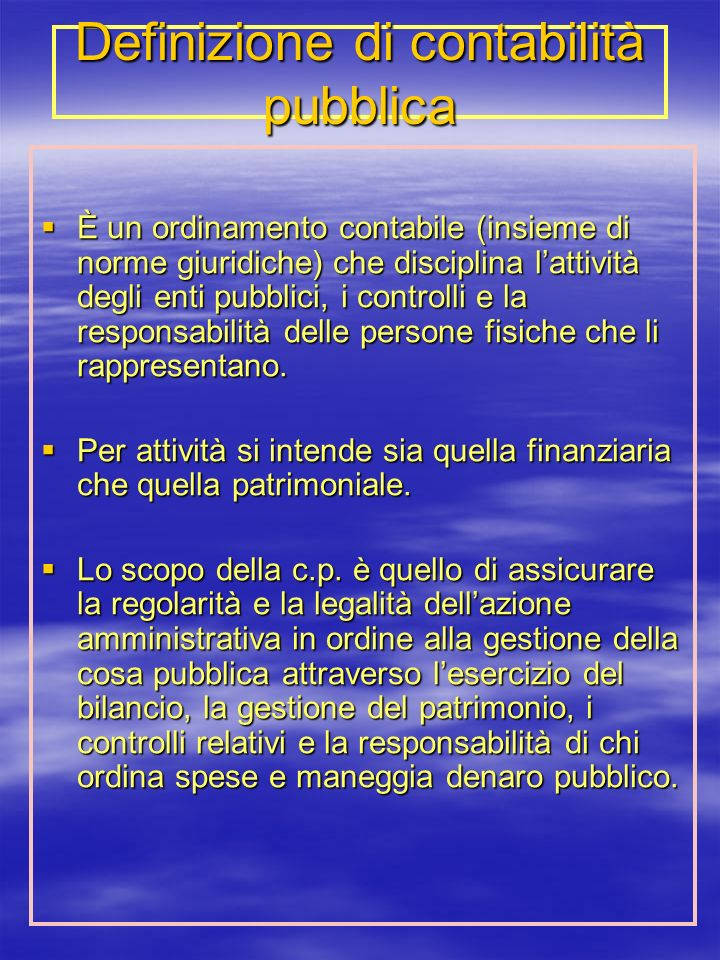 Definizione di contabilità pubblica