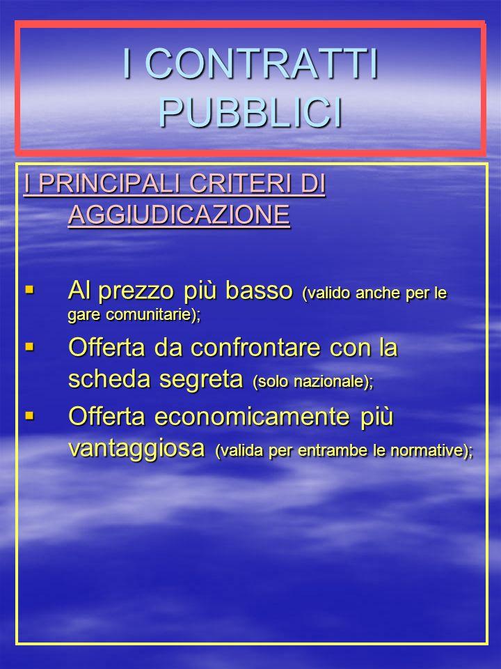 I CONTRATTI PUBBLICI I PRINCIPALI CRITERI DI AGGIUDICAZIONE