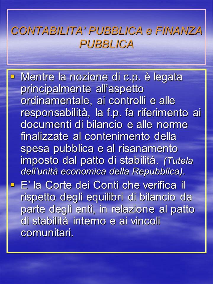 CONTABILITA' PUBBLICA e FINANZA PUBBLICA