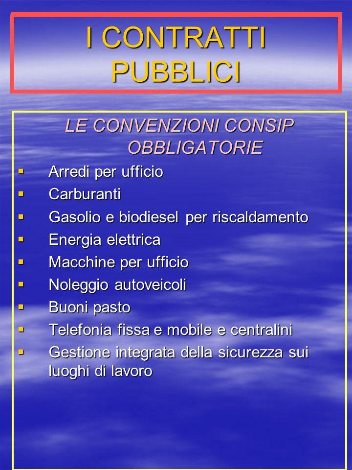 LE CONVENZIONI CONSIP OBBLIGATORIE