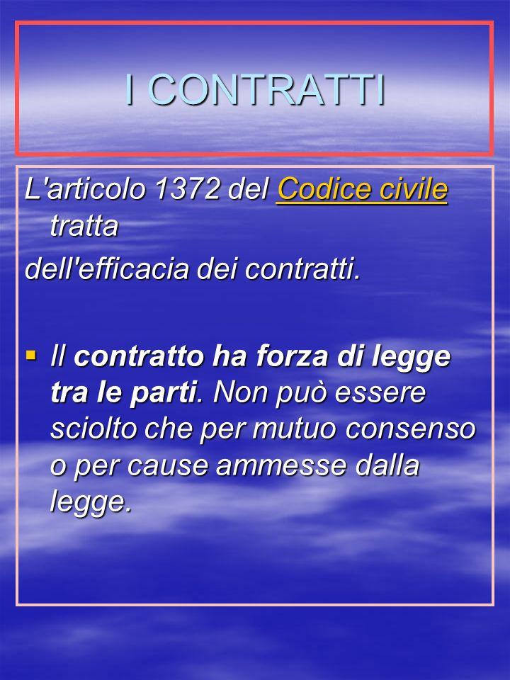 I CONTRATTI L articolo 1372 del Codice civile tratta