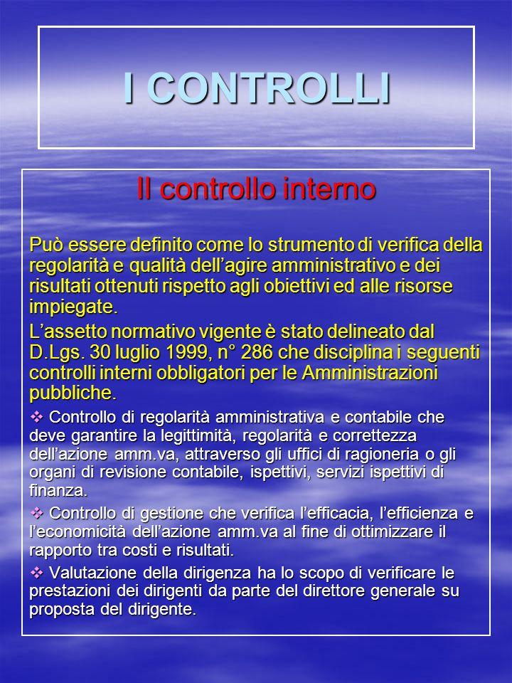 I CONTROLLI Il controllo interno
