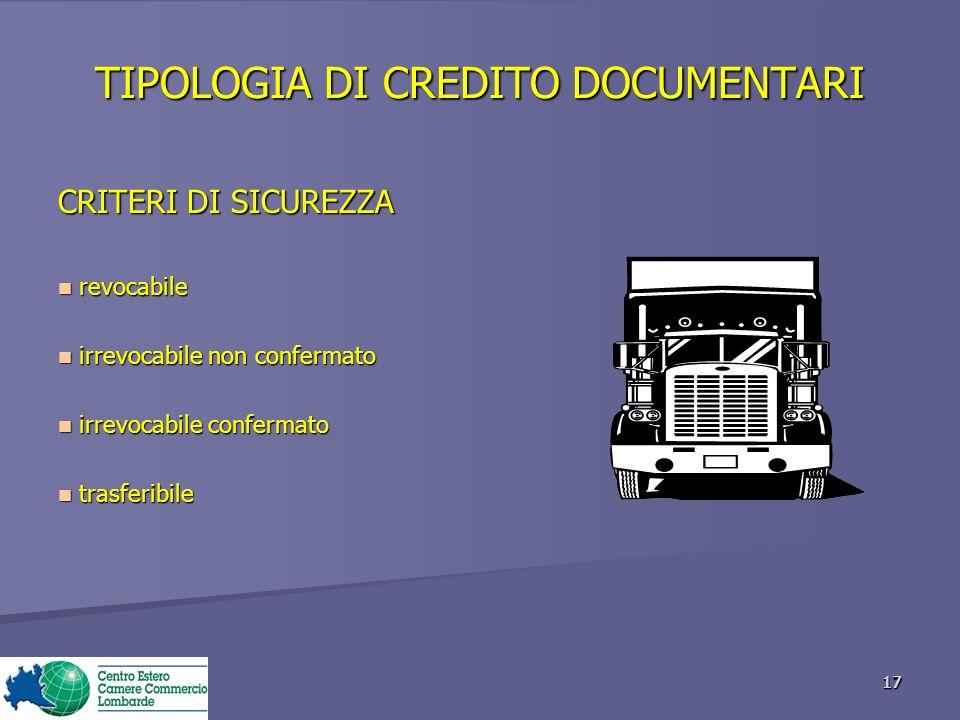 TIPOLOGIA DI CREDITO DOCUMENTARI