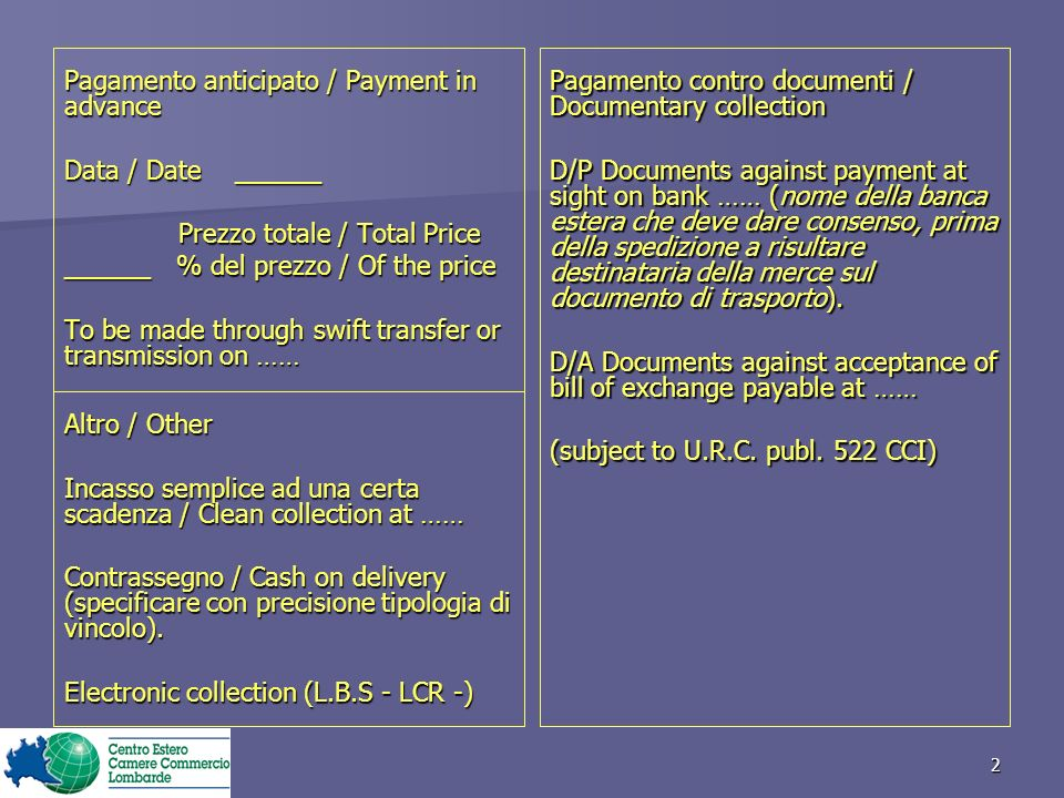 Pagamento anticipato / Payment in advance