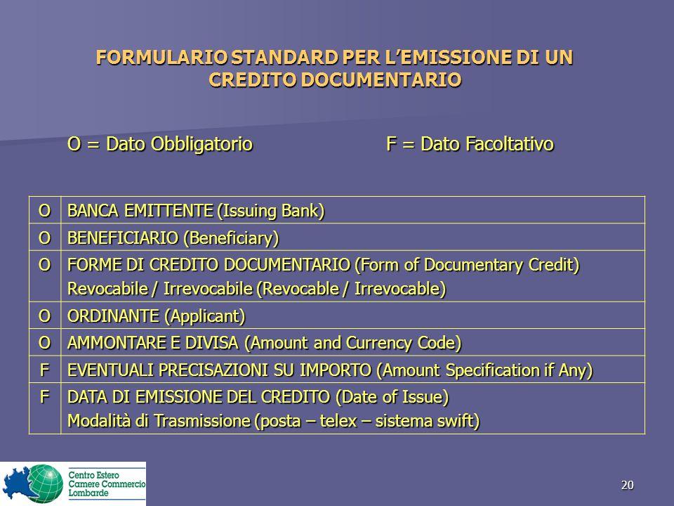 FORMULARIO STANDARD PER L'EMISSIONE DI UN CREDITO DOCUMENTARIO