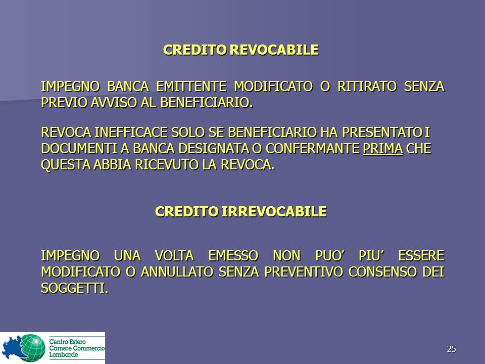 CREDITO REVOCABILE CREDITO IRREVOCABILE