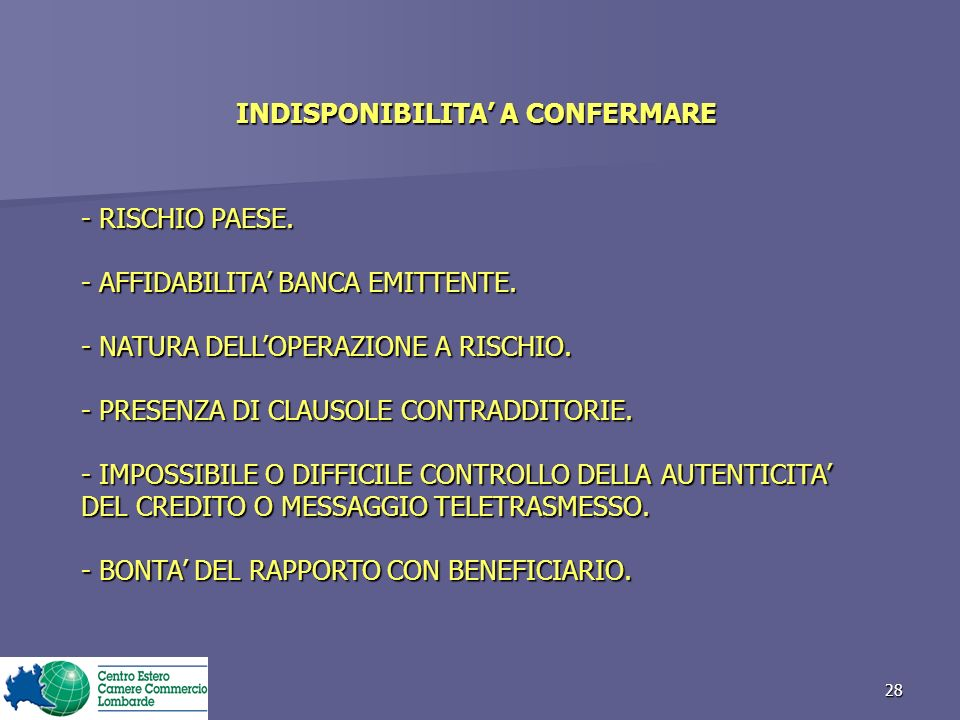 INDISPONIBILITA' A CONFERMARE