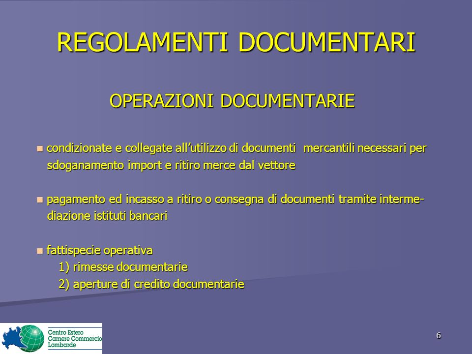 REGOLAMENTI DOCUMENTARI