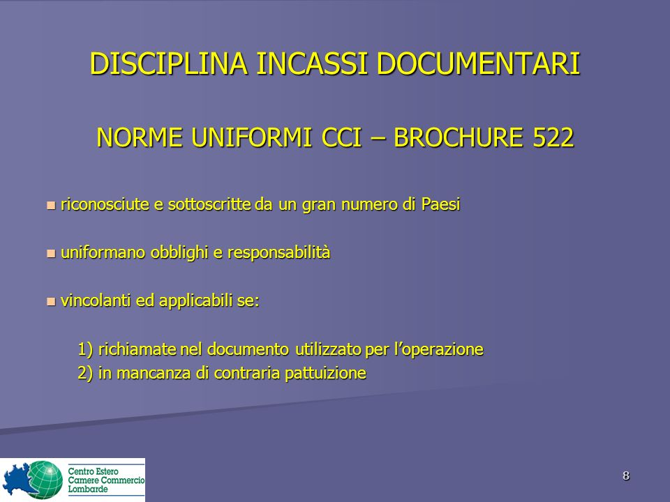 DISCIPLINA INCASSI DOCUMENTARI