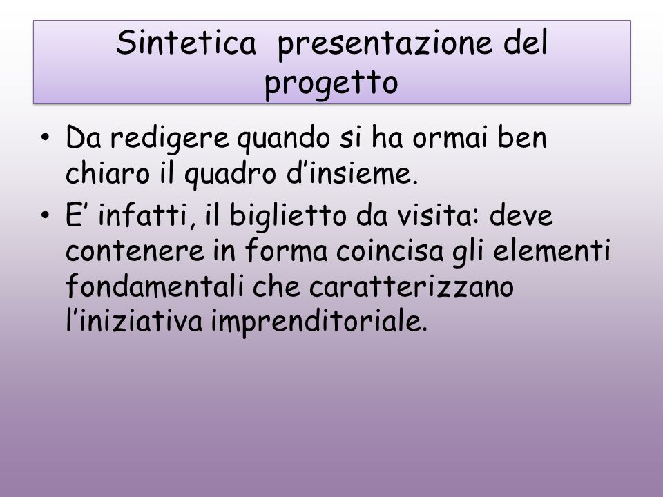 Sintetica presentazione del progetto