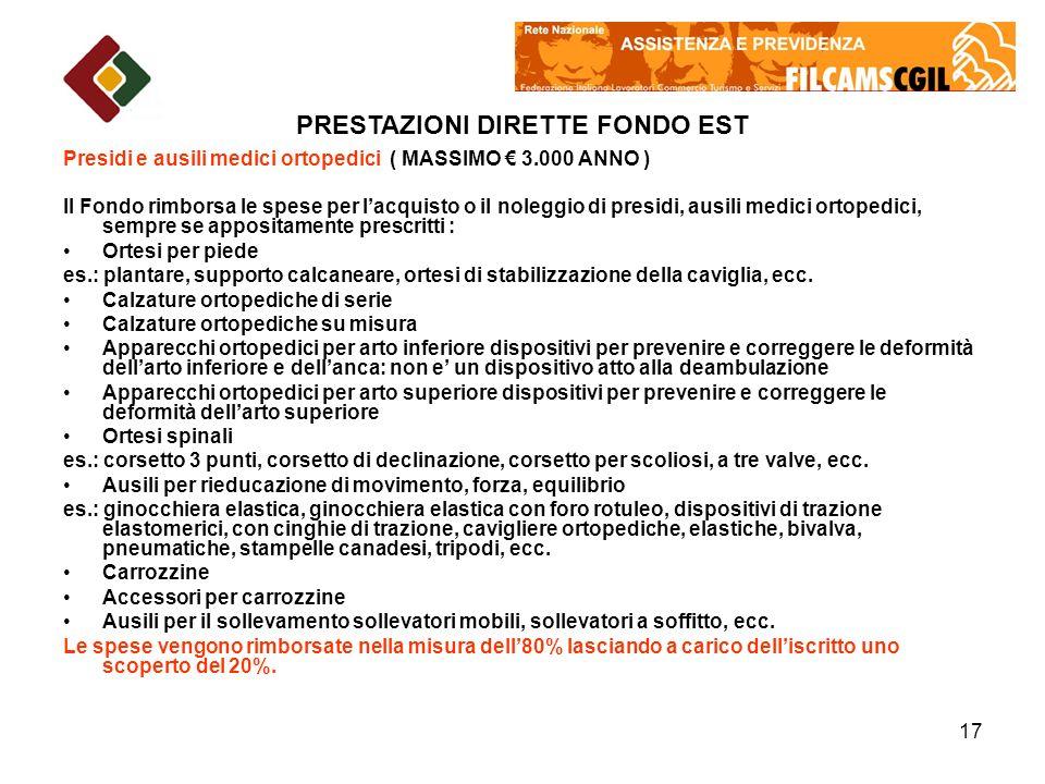 PRESTAZIONI DIRETTE FONDO EST