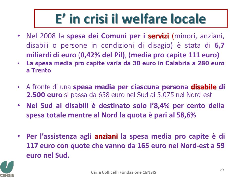 E' in crisi il welfare locale
