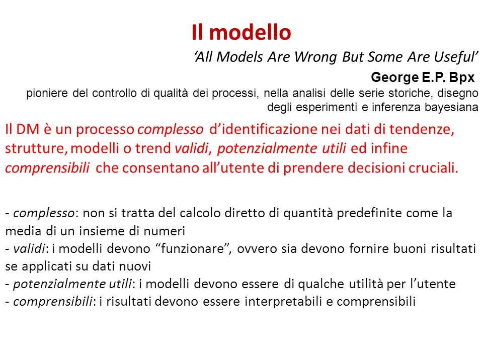 Il modello 'All Models Are Wrong But Some Are Useful'