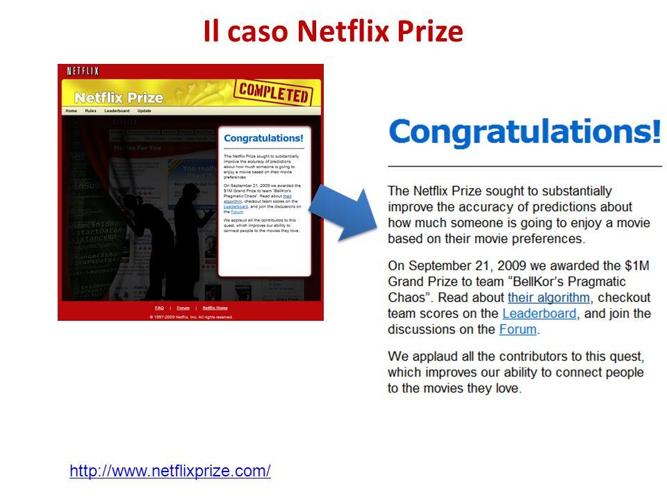 Il caso Netflix Prize http://www.netflixprize.com/