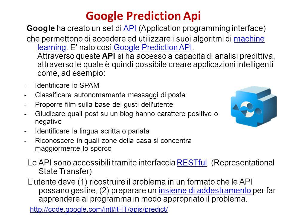 Google Prediction Api Google ha creato un set di API (Application programming interface)