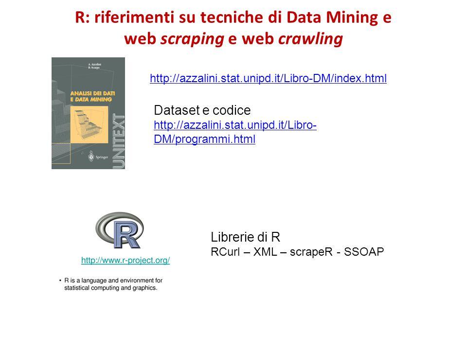 R: riferimenti su tecniche di Data Mining e web scraping e web crawling