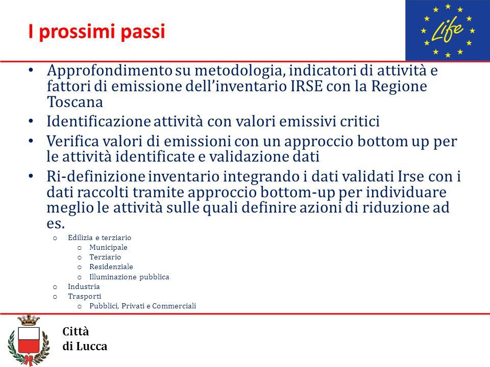 I prossimi passi Approfondimento su metodologia, indicatori di attività e fattori di emissione dell'inventario IRSE con la Regione Toscana.
