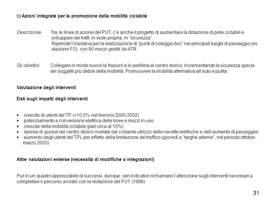b) Azioni integrate per la promozione della mobilità ciclabile