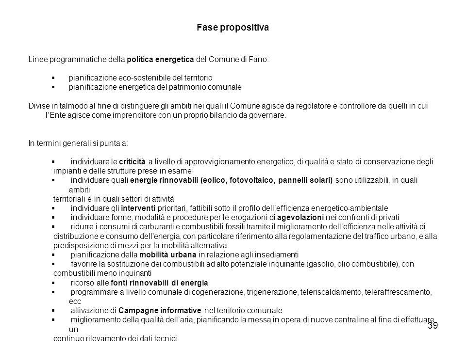 Fase propositiva Linee programmatiche della politica energetica del Comune di Fano: pianificazione eco-sostenibile del territorio.