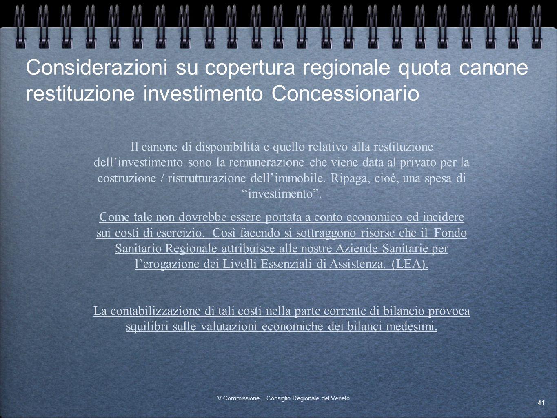 Considerazioni su copertura regionale quota canone restituzione investimento Concessionario