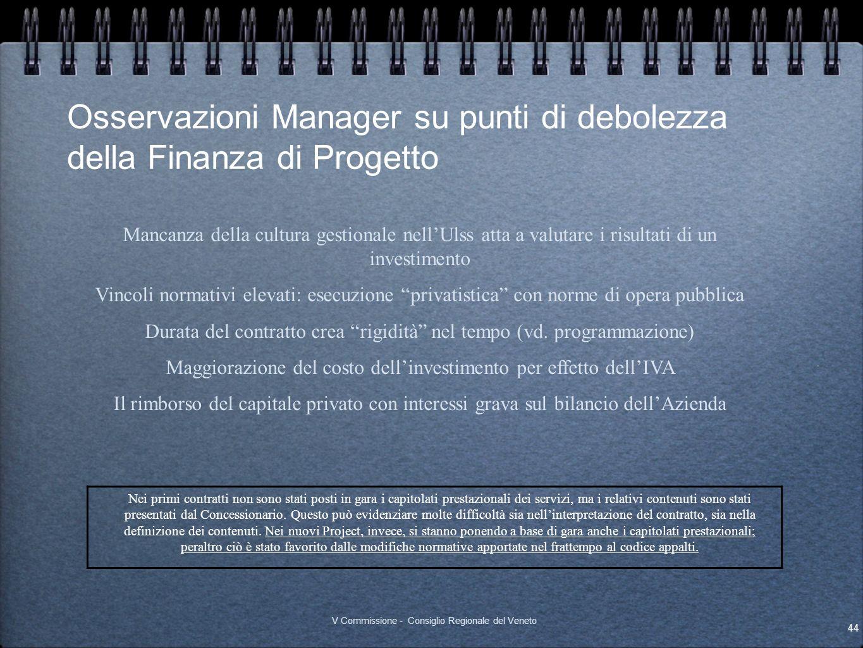 Osservazioni Manager su punti di debolezza della Finanza di Progetto