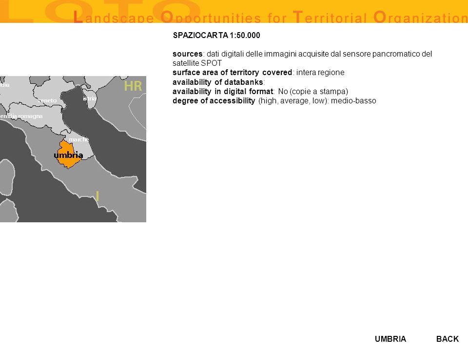SPAZIOCARTA 1:50.000 sources: dati digitali delle immagini acquisite dal sensore pancromatico del satellite SPOT.