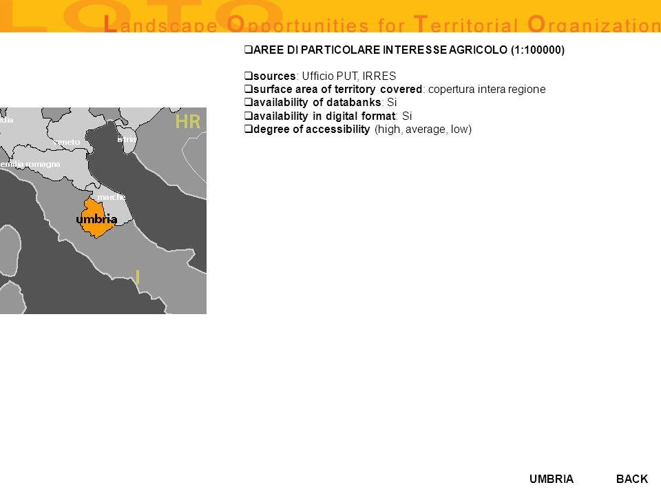 AREE DI PARTICOLARE INTERESSE AGRICOLO (1:100000)