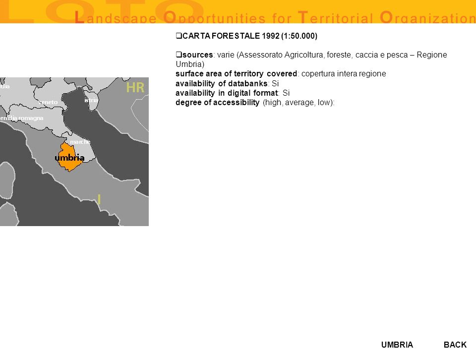 CARTA FORESTALE 1992 (1:50.000) sources: varie (Assessorato Agricoltura, foreste, caccia e pesca – Regione.
