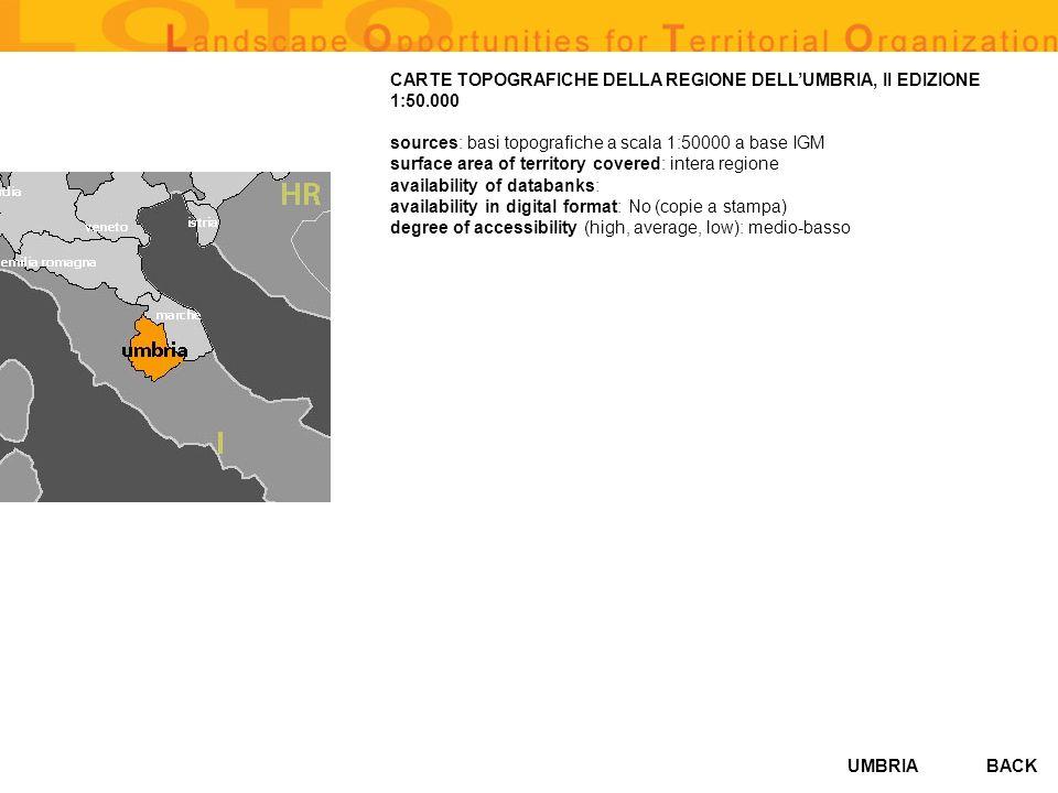 CARTE TOPOGRAFICHE DELLA REGIONE DELL'UMBRIA, II EDIZIONE 1:50.000