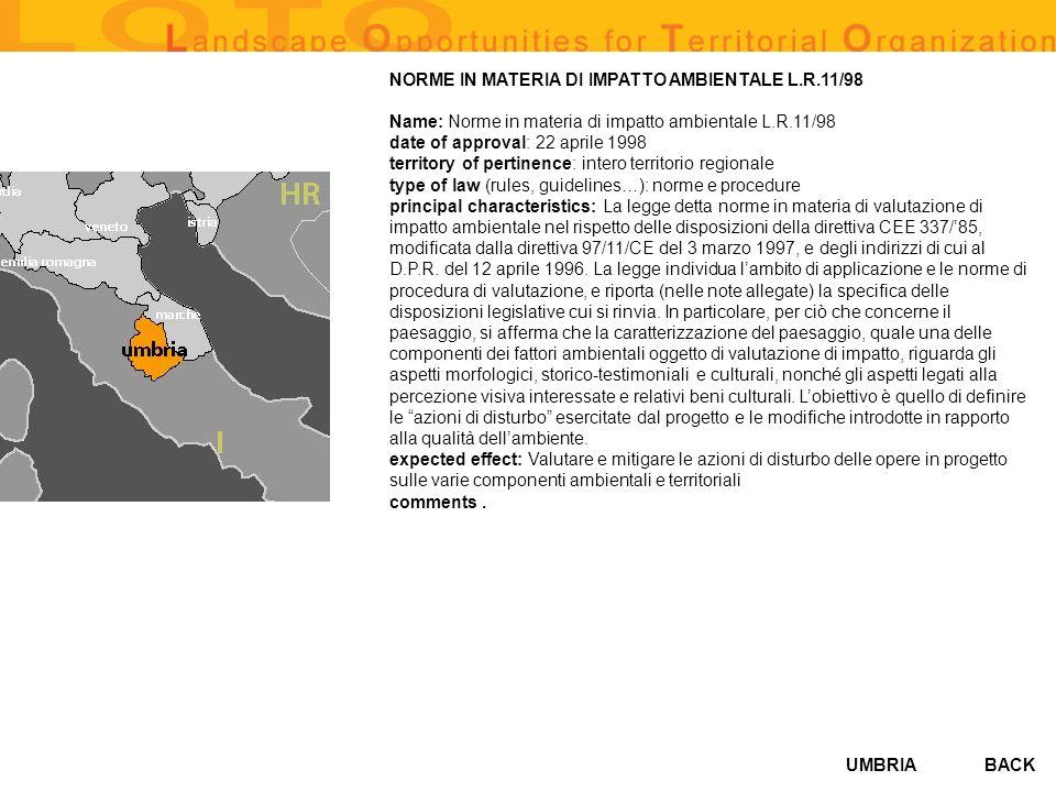 NORME IN MATERIA DI IMPATTO AMBIENTALE L.R.11/98