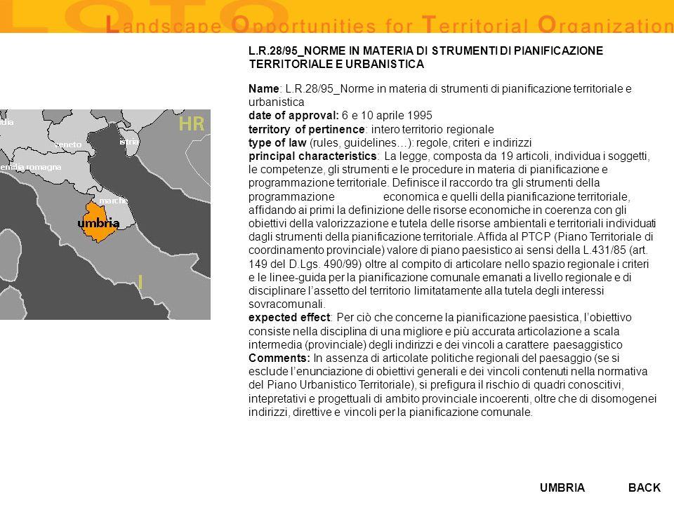 L.R.28/95_NORME IN MATERIA DI STRUMENTI DI PIANIFICAZIONE TERRITORIALE E URBANISTICA