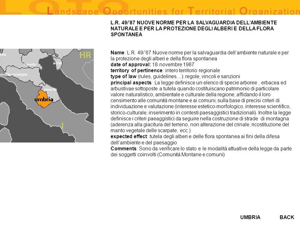 L.R. 49/'87 NUOVE NORME PER LA SALVAGUARDIA DELL'AMBIENTE NATURALE E PER LA PROTEZIONE DEGLI ALBERI E DELLA FLORA SPONTANEA