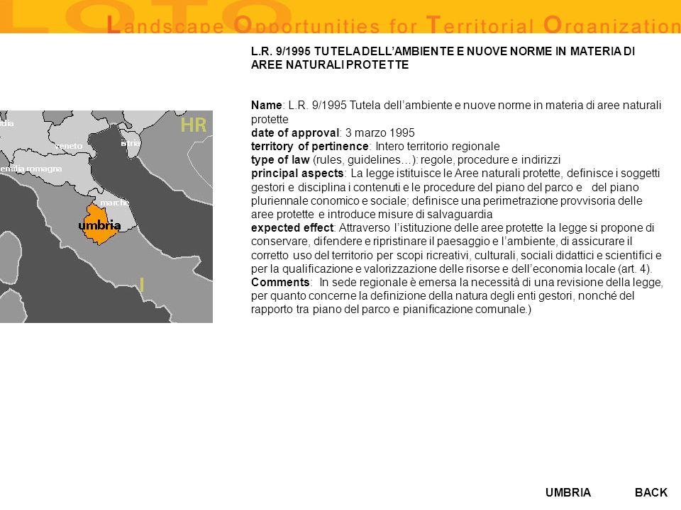 L.R. 9/1995 TUTELA DELL'AMBIENTE E NUOVE NORME IN MATERIA DI AREE NATURALI PROTETTE