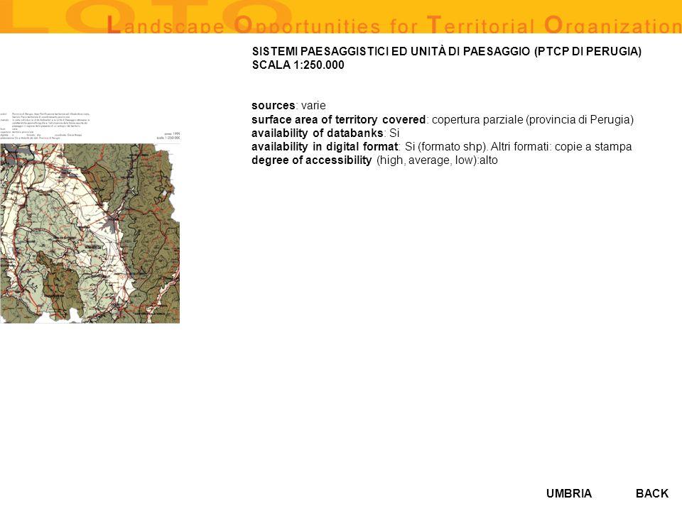 SISTEMI PAESAGGISTICI ED UNITÀ DI PAESAGGIO (PTCP DI PERUGIA) SCALA 1:250.000