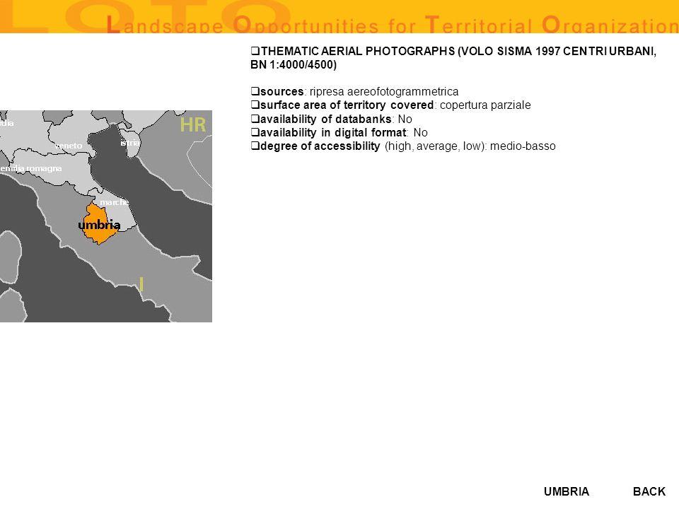 THEMATIC AERIAL PHOTOGRAPHS (VOLO SISMA 1997 CENTRI URBANI, BN 1:4000/4500)