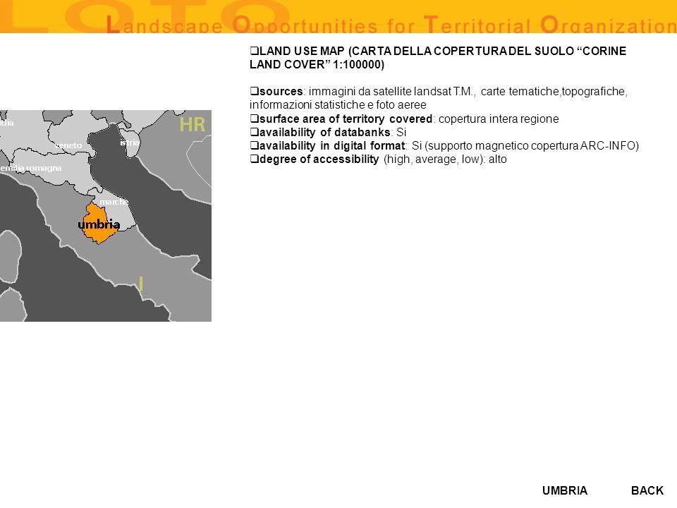 LAND USE MAP (CARTA DELLA COPERTURA DEL SUOLO CORINE LAND COVER 1:100000)