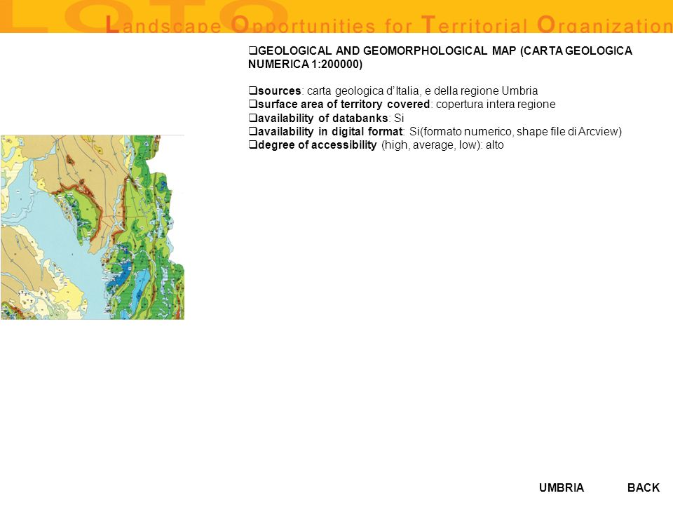 GEOLOGICAL AND GEOMORPHOLOGICAL MAP (CARTA GEOLOGICA NUMERICA 1:200000)