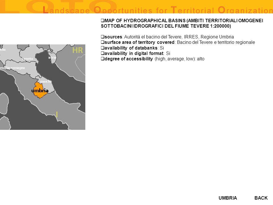 MAP OF HYDROGRAPHICAL BASINS (AMBITI TERRITORIALI OMOGENEI SOTTOBACINI IDROGRAFICI DEL FIUME TEVERE 1:200000)