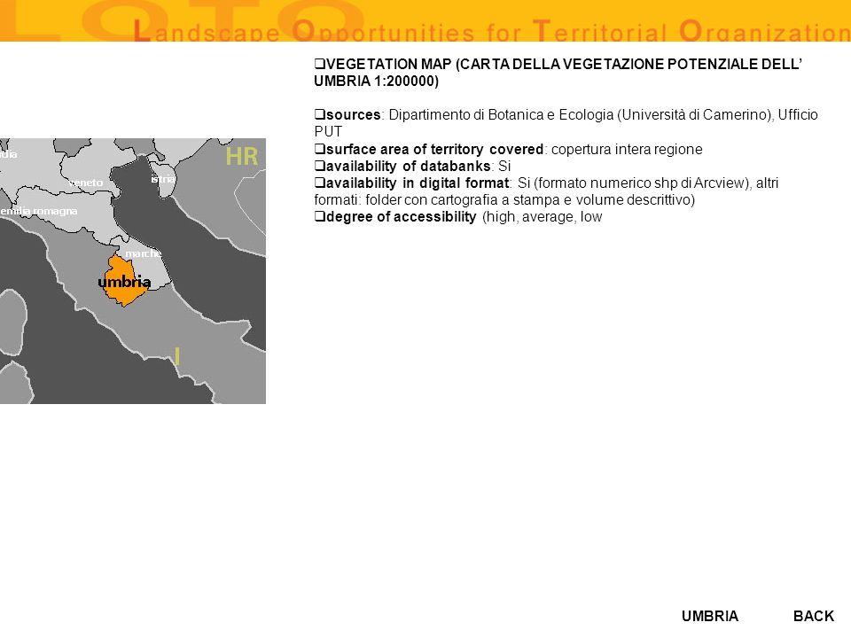 VEGETATION MAP (CARTA DELLA VEGETAZIONE POTENZIALE DELL' UMBRIA 1:200000)