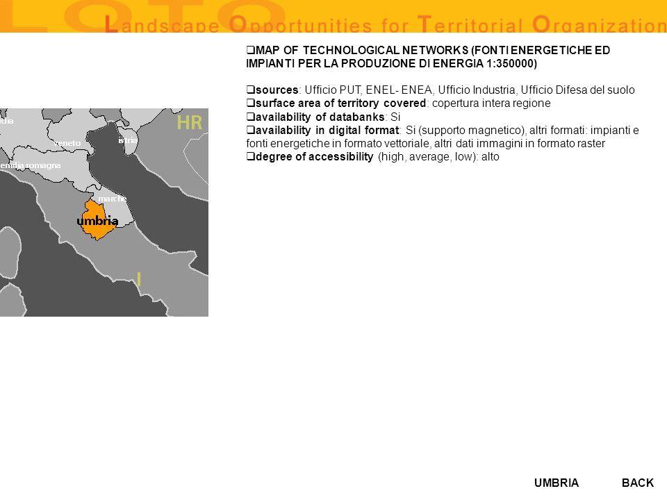 MAP OF TECHNOLOGICAL NETWORKS (FONTI ENERGETICHE ED IMPIANTI PER LA PRODUZIONE DI ENERGIA 1:350000)